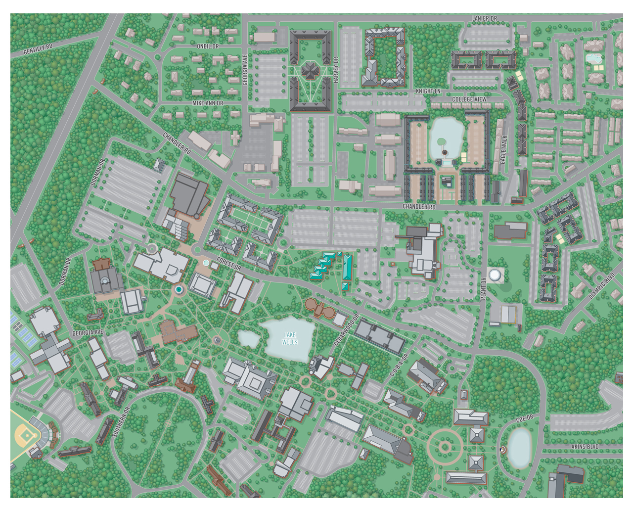 college campus map illustration georgia southern university. city  college campus map illustration  design
