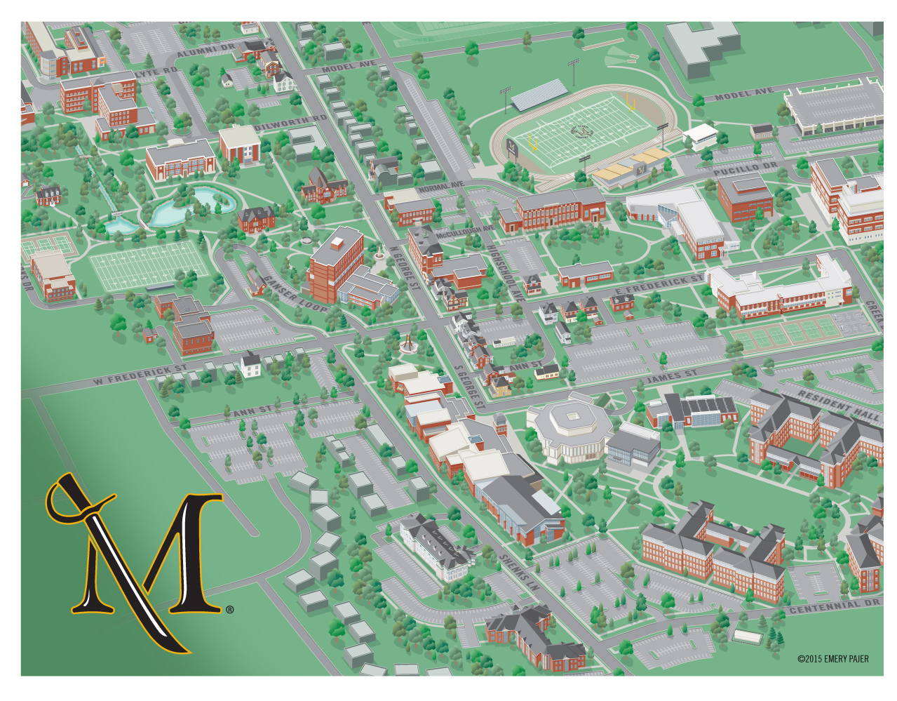 college campus map illustration millersville university. city  college campus map illustration  design